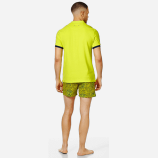 Men Others Solid - Men Cotton Polo Shirt Solid, Chartreuse backworn