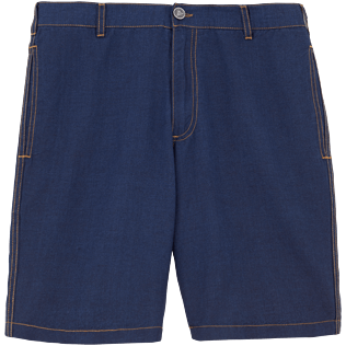 Men Shorts Solid - Indigo Straight bermuda, Indigo front