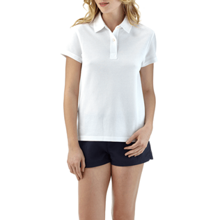 Women Polos Solid - Solid Cotton pique polo, White frontworn