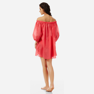 Women Others Solid - Women off-the-shoulder Cotton voile Dress Solid, Hibiscus backworn
