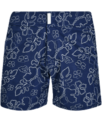 Men Flat belts Printed - Men Stretch Short Swim Trunks Flat belt 1996 Gilbert Tropic , Navy front