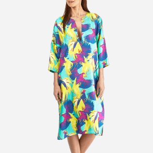 Women Others Printed - Women Long Twill Silk Tunic Dress Birds of Paradise, Veronese green supp1