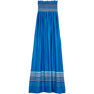Donna Altri Grafico - Vestito donna in misto seta e viscosa Rayures Bleues, Hawaii blue back