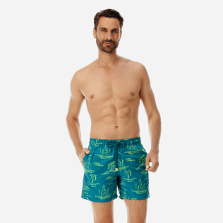 Men Embroidered Embroidered - Men Embroidered swimtrunks St Tropez - Limited Edition, Pine wood frontworn