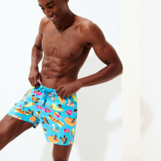 Men Stretch classic Printed - Men Swimwear - Vilebrequin x Derrick Adams, Swimming pool supp2