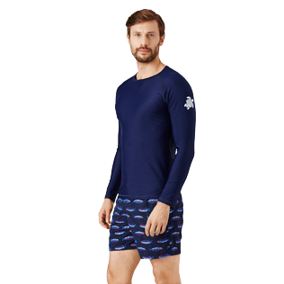 Men Others Solid - Unisex Long Sleeves Rashguards Solid, Navy frontworn