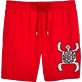 Men Classic / Moorea Embroidered - Primitive Turtle Placed Embroidery Swim shorts, Poppy red front