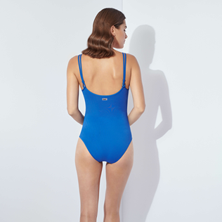 Women One piece Solid - Women Round Neckline One piece Swimsuit Solid, Batik blue backworn