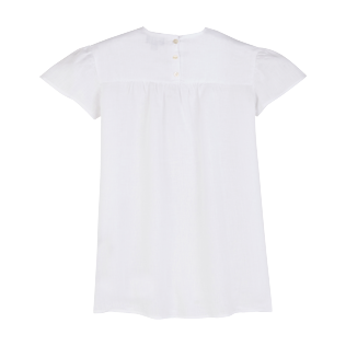 Girls Others Embroidered - Girls Linen Embroidered Dress, White back