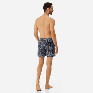 Men 017 Embroidered - Men Embroidered Swim Trunks Vilebrequin Labels - Limited Edition, Navy backworn