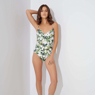 Women Underwire Printed - Women One piece Swimsuit Palms, White frontworn