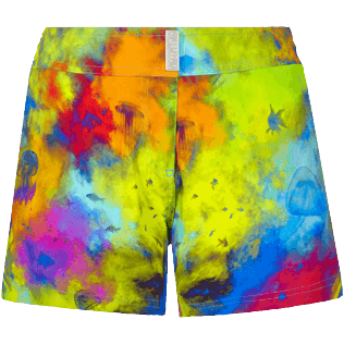 Damen Andere Bedruckt - Holi Party Stretch-Badeshorts für Damen, Batik blue front