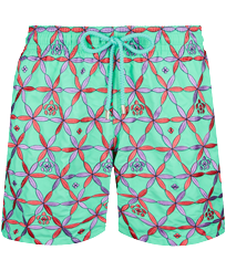 Men Classic Embroidered - Men Swim Trunks Embroidered Indian Ceramic - Limited Edition, Cardamom front