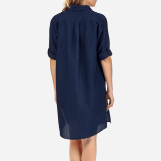Women Dresses Solid - Indigo Long Linen Shirt, Indigo supp2