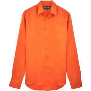 Men Others Solid - Men Linen Shirt Solid, Papaya front