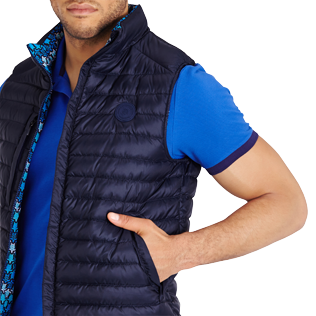 Others Printed - Unisex Sleeveless Down Jacket Herringbones Turtles, Navy supp1