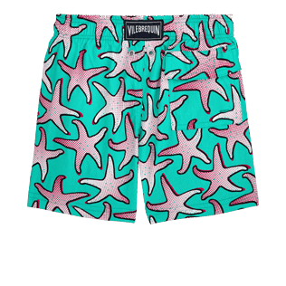 Boys Others Printed - Boys Stretch Swimwear Starfish Art, Veronese green back