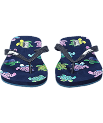 Men Others Printed - Men Flip Flops Rondes des Tortues Aquarelle, Navy frontworn