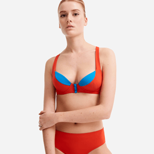 Women Underwire Solid - Women contrasted Bikini top with underwires - Vilebrequin x JCC+ - Limited Edition, Red polish supp1