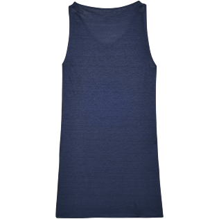 Women Dresses Solid - Women Cowl neck Linen Jersey Dress Solid, Navy back