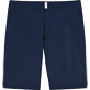 Men Flat belts Solid - Solid Superflex Long fitted cut Swim shorts, Navy front
