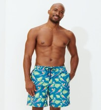 Men Long classic Printed - Men Long Swim Trunks Multicolore Parrots, Goa frontworn