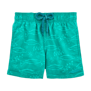 Boys Others Printed - Water-reactive Sardines à l'Huile Swim Shorts, Veronese green supp1