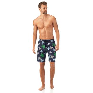 Men Long Printed - Multicolor Turtles Long Cut Swim shorts, Navy frontworn