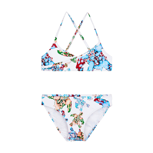 Girls Others Printed - Girls Swimsuit Brassiere Two Pieces Watercolor Turtles, White front