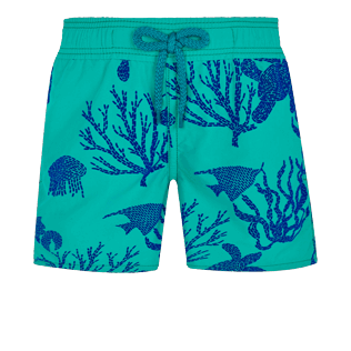 Boys Others Printed - Boys Swim Trunks Flocked Coral and Turtles, Veronese green front