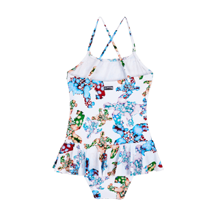 Girls Others Printed - Girls One Piece Swimsuit Frills Watercolor Turtles, White back
