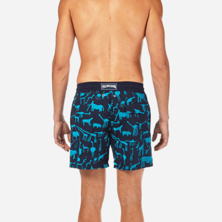 Men Classic / Moorea Printed - Primitive Art Flocked Swim shorts, Navy supp2
