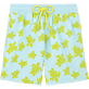 Men Classic / Moorea Printed - Flocked Turtle Print Swim Shorts, Frosted blue front