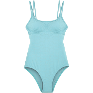 Women One Piece Solid - Jacquard Ecailles de Tortue One piece, Frosted blue front