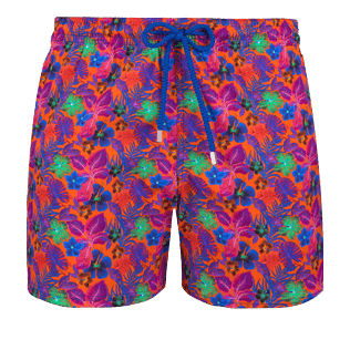 Men Stretch classic Printed - Men Stretch swimtrunks Porto Rico, Bright orange front