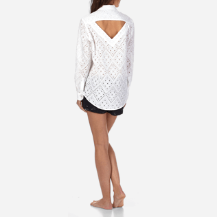 Women Others Embroidered - Women Halter Cotton Shirt Eyelet Embroidery, White backworn