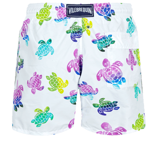 Hombre Clásico Estampado - Men Swimwear Ronde des Tortues Aquarelle, Blanco back