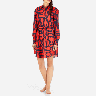Women Dresses Printed - Silex Fishes Long dress shirt, Poppy red frontworn