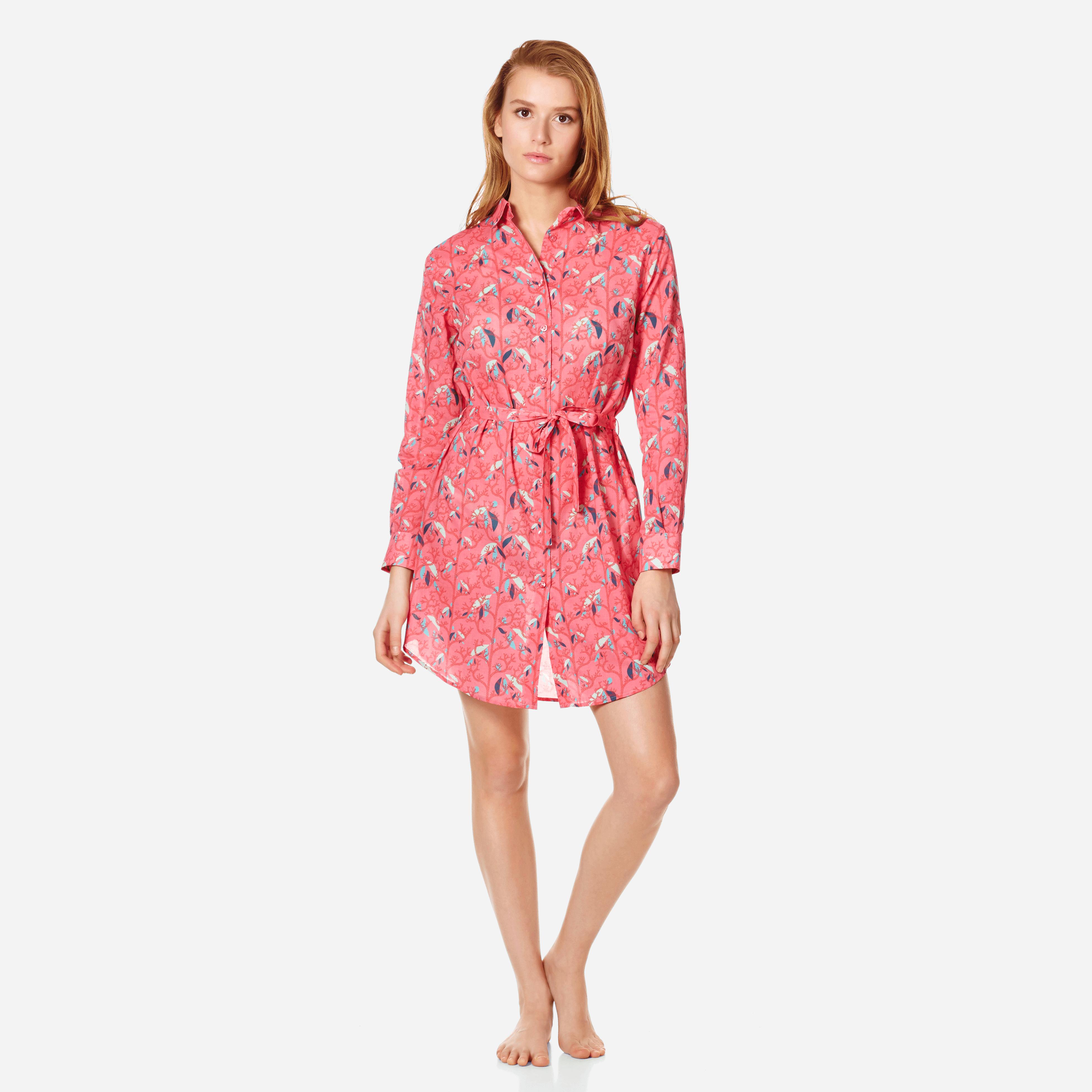 Vilebrequin Women Cotton Veil Shirt Dress Turtles Song In Pink