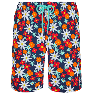 Men Long classic Printed - Men Swim Trunks Long 1977 Spring Flowers, Navy front