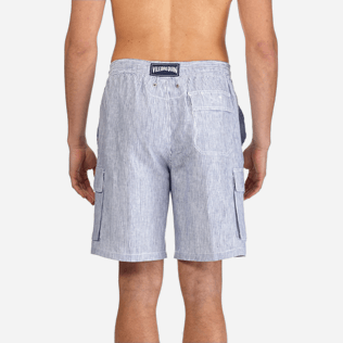 Men Others Graphic - Men Cargo Linen Bermuda Shorts Micro Rayures, Ultramarine supp2