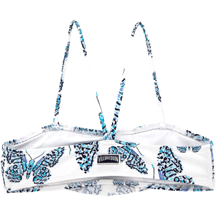 Girls Tops Printed - Butterflies Crop top with large frill, Azure back