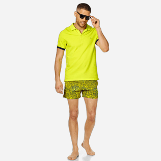 Men Others Solid - Men Cotton Polo Shirt Solid, Chartreuse supp2