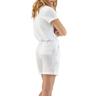 Women Others Solid - Solid Linen Bermuda shorts, White backworn