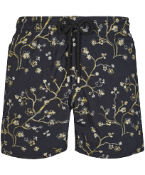 Men Classic Embroidered - Men Swim Trunks Embroidered Cherry Blossom - Limited Edition, Black front