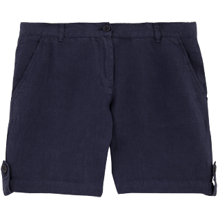 Women Others Solid - Solid Linen Bermuda shorts, Navy front