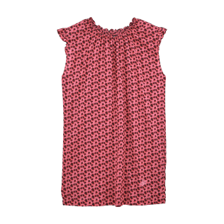 Girls Dresses Printed - Micro Turtles Hawaï Micro sleeves dress, Pink front