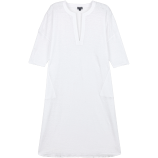 Women Others Solid - Women Long linen jersey Tunic Dress Solid, White front