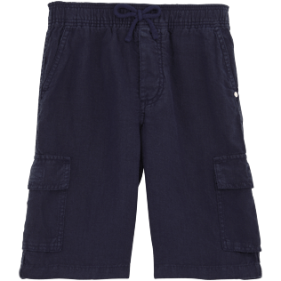 Boys Others Solid - Linen bermuda shorts, Navy front