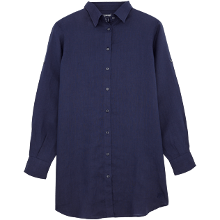 Women Shirts Solid - Long linen shirt, Navy front